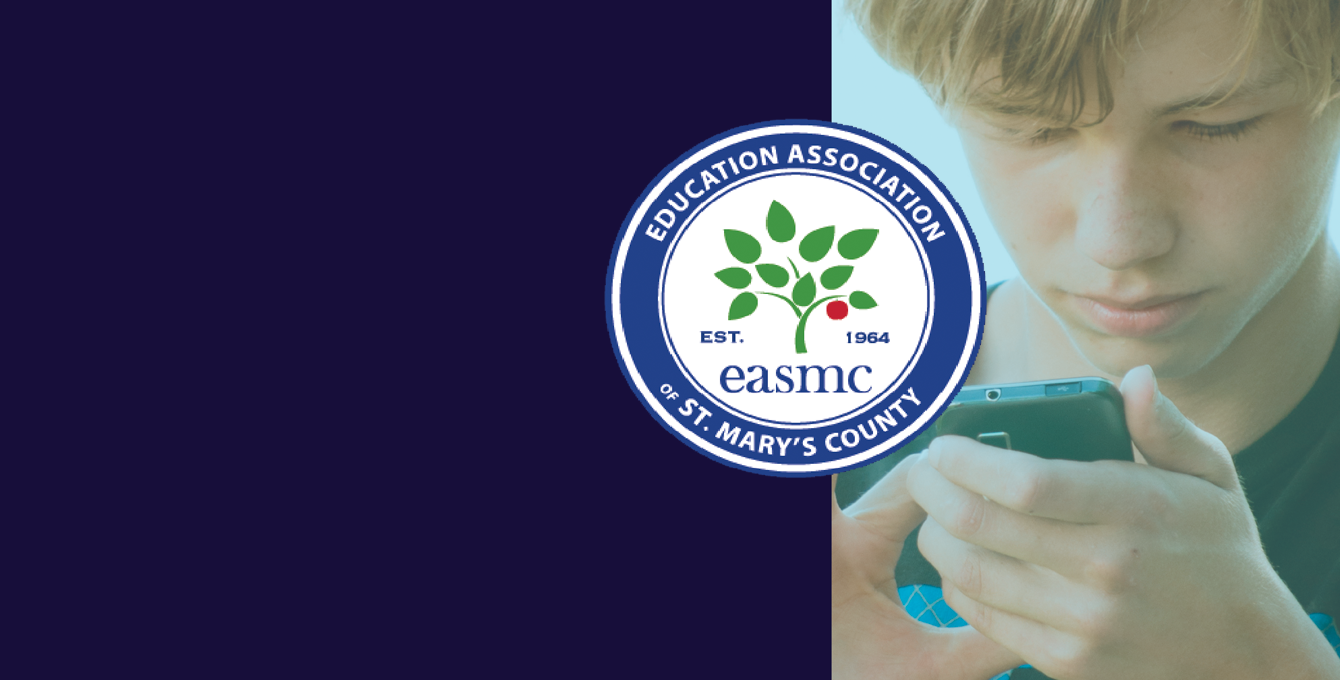 Teenage boy on using phone, EASMC Logo Overlaid