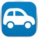 Blue button with car. Moakley car reservation system