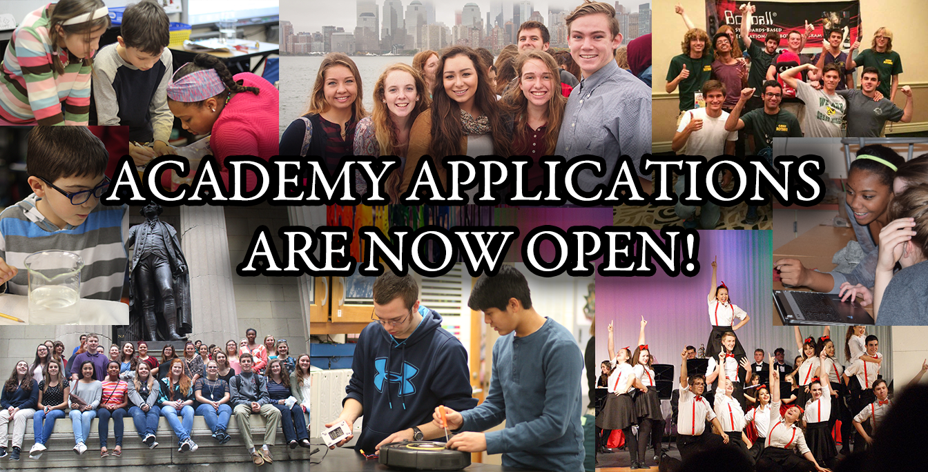 "Banner, ""Academy Applications are now open"""