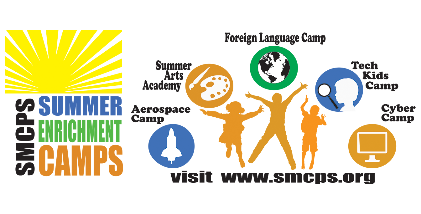 Summer Camp Banner, clip art of kids jumping, text: aerospace, summer art, languages, tech kids, cyber camp